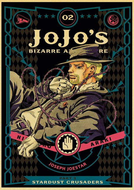 Anime JoJo's Bizarre Adventure JOJO Poster Action Anime retro Poster Painting Wall Art for Living Room /Bar /Cafe room Decor 4
