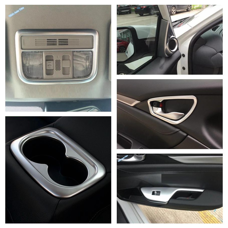 Lapetus Matte Interior Refit Kit For Honda Civic 2016 2020 Roof Reading Lights Lamps Inner Door Handle Bowl Frame Cover Trim Interior Mouldings Aliexpress