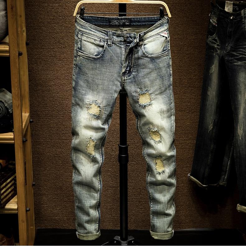 KSTUN Biker Jeans Men's Distressed Stretch Ripped Biker Jeans Men Hip Hop Slim Fit Patchwork Vintage Man Punk Denim Jeans Cotton Pants 11