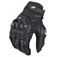 Guantes unisex de cuero para montar en motocicleta, blancos, negros, 4 estaciones, piel de vaca,