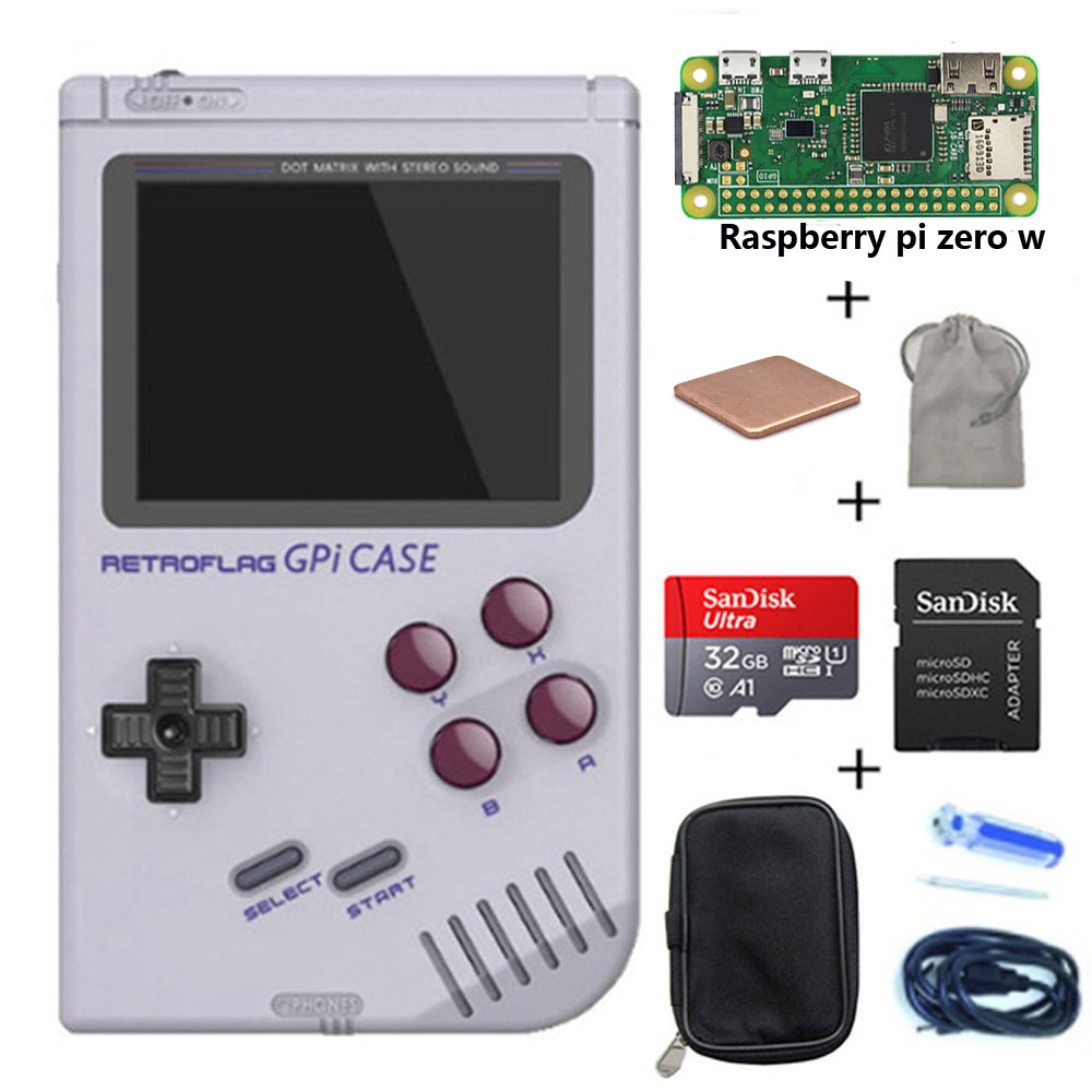 Em estoque! original retroflag gpi caso kit com 32g micro sd cartão dissipador de calor para raspberry pi zero/zero w