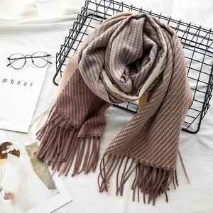 Image 3 - Confecção de malhas de Cashmere Pashmina Lenço Longo Lenço com Tessel Inverno Mais Quente Cachecol Moda de Presente de Luxo para As Mulheres Senhoras