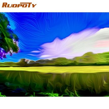 RUOPOTY 60x75cm Framed Painting By Numbers Kits For Adults Children Hand Made Home Wall Decoration Oil Paint Artcraft Diy Gift