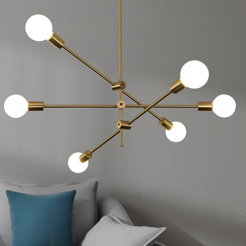 6 Lights Modern Sputnik Chandelier Indoor Pendant Lighting Ceiling Fixtures Gold