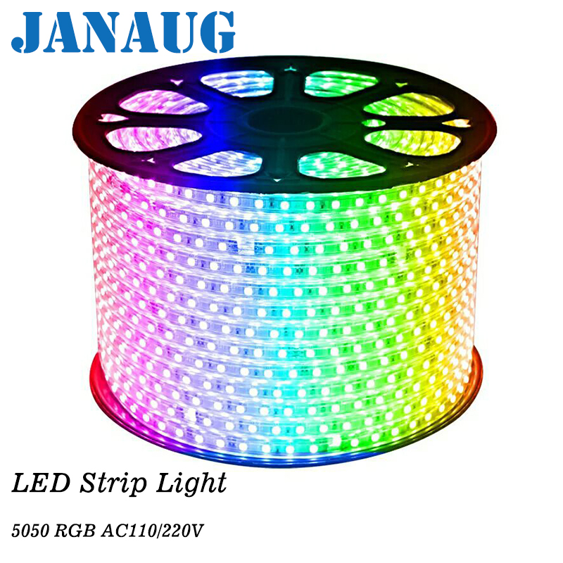 AC 220V RGB LED Strip Rope Light 5050 SMD Waterproof IP68 Silicone Tube 60LEDs/M + EU Controller Kit 1M/5M/6M/8M/20M