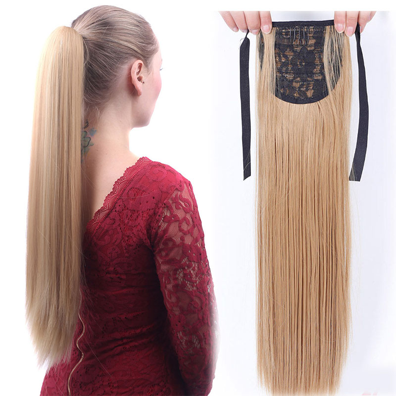 Long Straight Drawstring Ponytail With Hairpins Clip In Hairpiece Synthetic Hair Pony Tail Hair Extension 22 Inches LUPU Hair