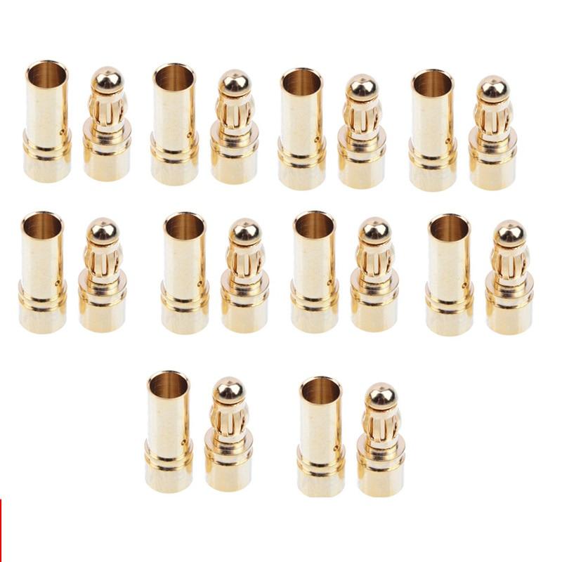 20/40pcs 3.5mm Gold Bullet Banana Connector Plug For ESC Battery Motor (10/20 Pair)