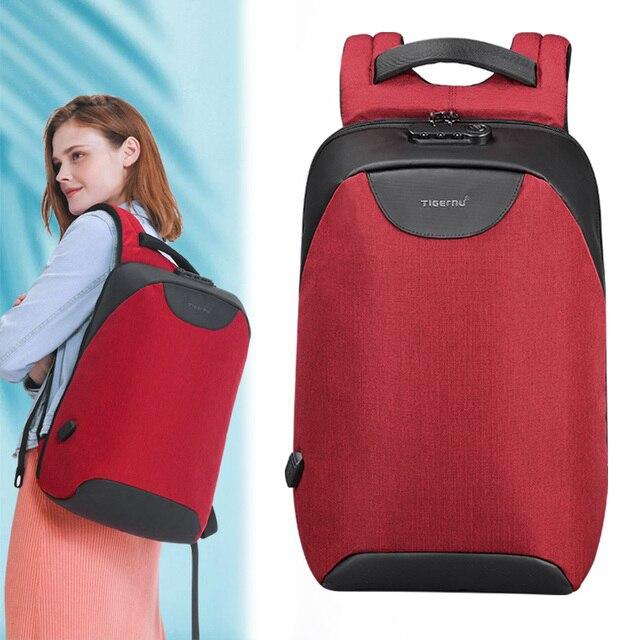Keine Schlüssel Anti theft TSA Lock Mode Frauen Rucksäcke 15,6 zoll USB Lade Laptop Weibliche Mochila 18L College Schule Rucksack