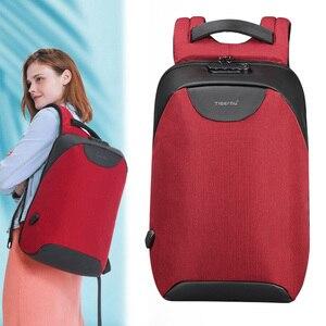 Image 1 - Pas de clé Anti vol TSA serrure mode femmes sacs à dos 15.6 pouces USB charge ordinateur portable femme Mochila 18L collège école sac à dos