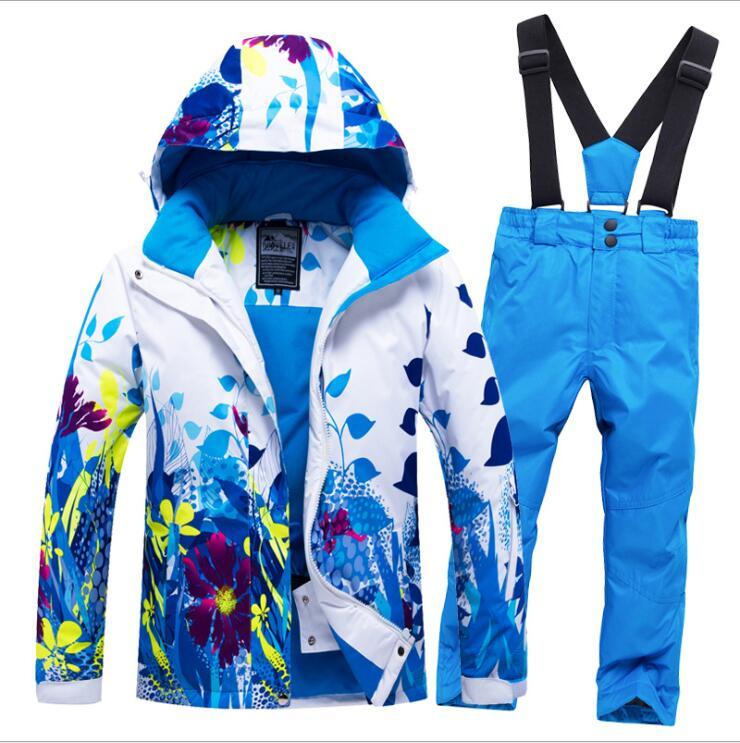 Kids Ski Suit Children Brands Windproof Waterproof Warm Girls Boys Snow Set Pants Winter Skiing Snowboarding Jacket Child Hooded