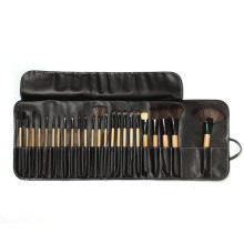 24 Pcs Houten Make-Up Borstel Cosmetische Make Up Set Kit Pouch Wenkbrauw Poeder Foundation Schaduwen Make Up Gereedschap met Zwarte tas(China)