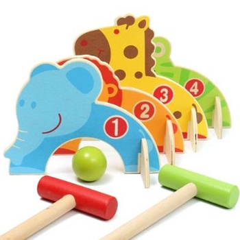 1Set Funny Outdoor Toys Baby Golf Toy Cartoon Wood Croquet Game Animal Gate Ball Toys Children Family Game shark bite game funny toys desktop fishing toys kids family interactive toys board game
