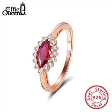 Effie Queen Female  925 Sterling Silver Ring with Eye Shape Big Red Crystal Stone AAAA Zircon  Jewelry wedding Party Gift DSR185
