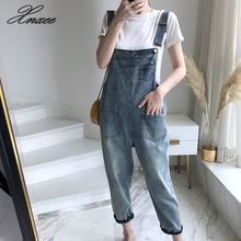 Xnxee denim bib female 2019 spring and summer new loose Korean cat claw cute nine pants