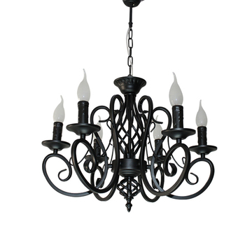 America Black Iron Pendant Lights lustres de cristal Retro Candle Chandelier Decoration Dinning Room Hanging Lamp
