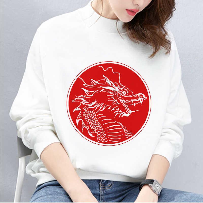 2019 الصينية نمط الجمالية الأحمر التنين طباعة أبيض طويل الأكمام هوديس المتناثرة أنيقة الشارع الشهير رياضية المرأة البلوز