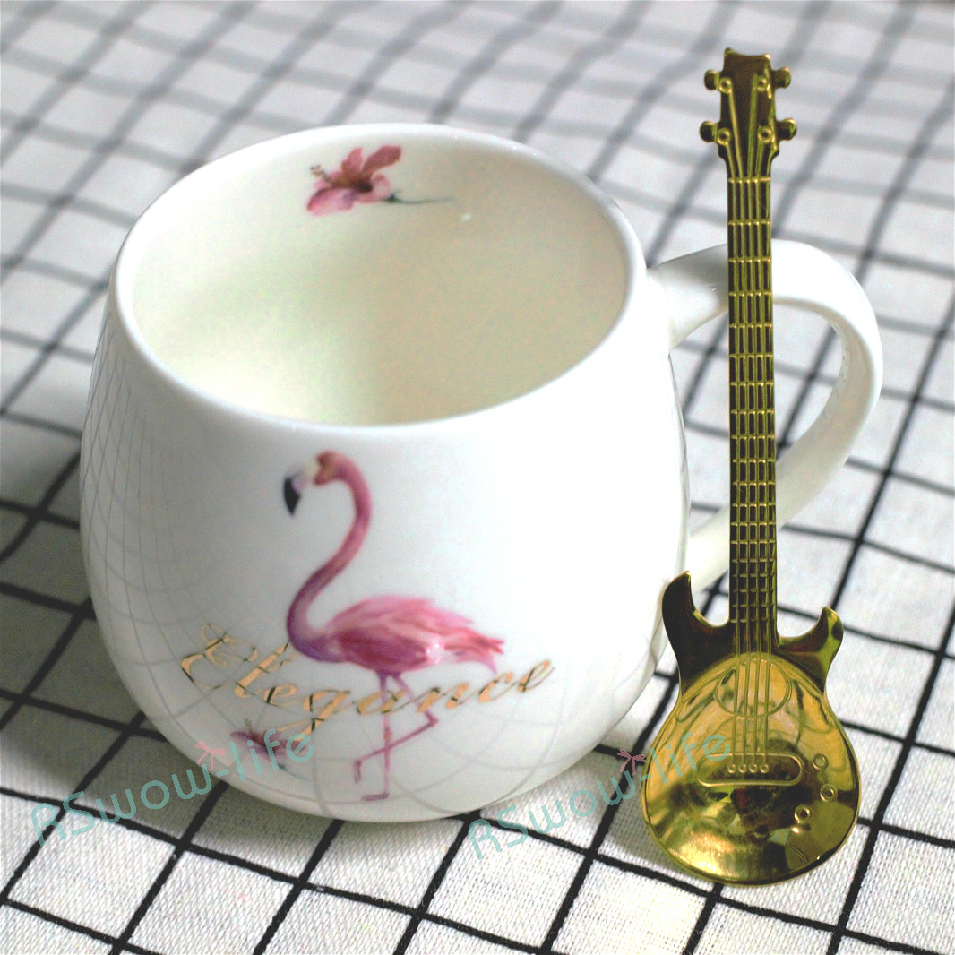 13CM Household Color Stainless Steel Spoons Creative Guitar Coffee Spoon Milk Cup Spoons Tea Spoon For Kitchen Supplies in Spoons from Home Garden