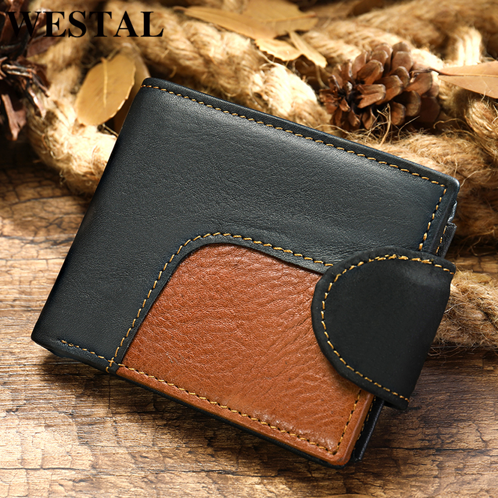 WESTAL Mens Genuine Leather Wallet For Money And Cards Male Purse For Men Short Men's Leather Wallet Clutch Bifold Slim Wallet