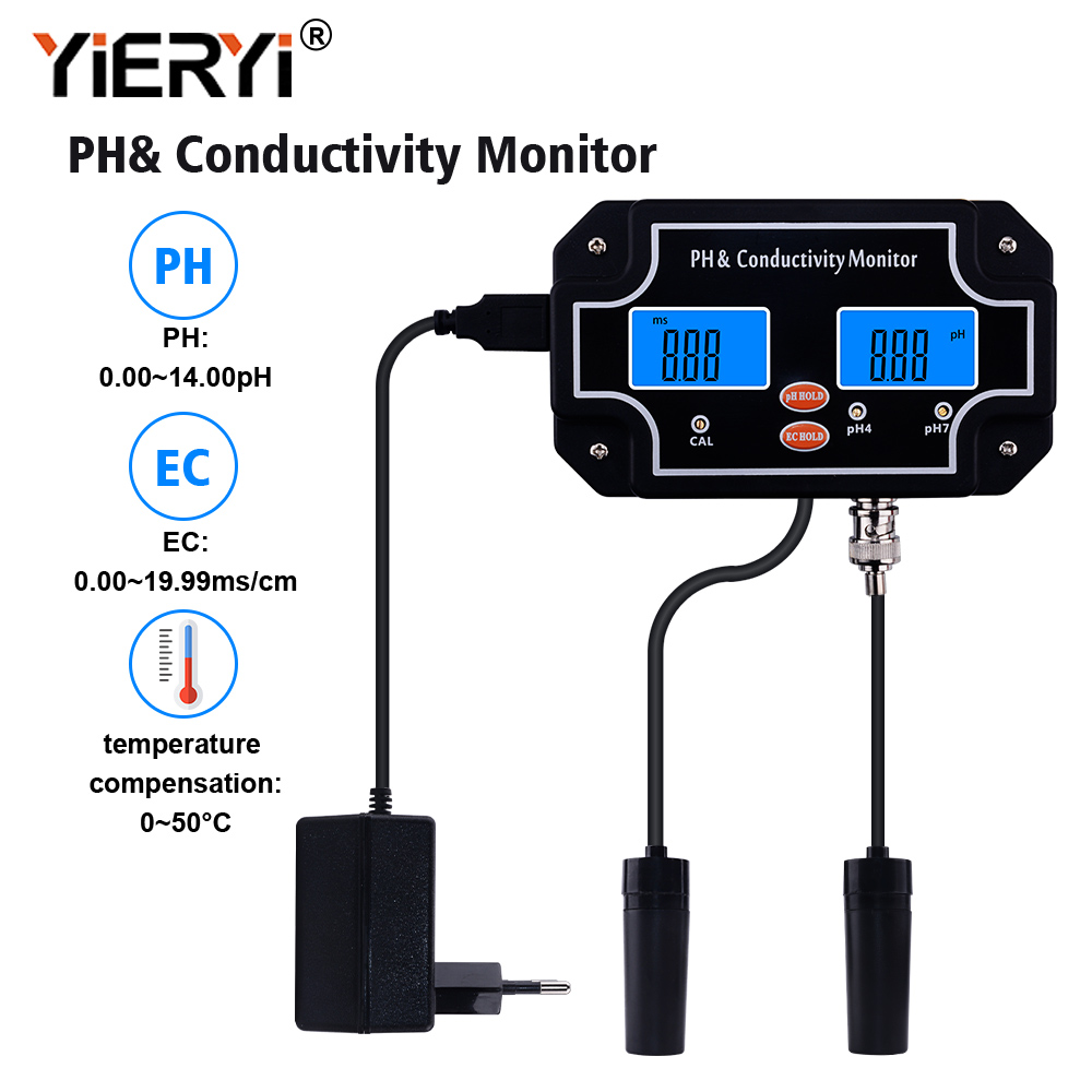 Yieryi Digital Online PH/EC Conductivity Monitor Meter Tester Water Quality Continuous Monitoring For Fish Tank Aquarium