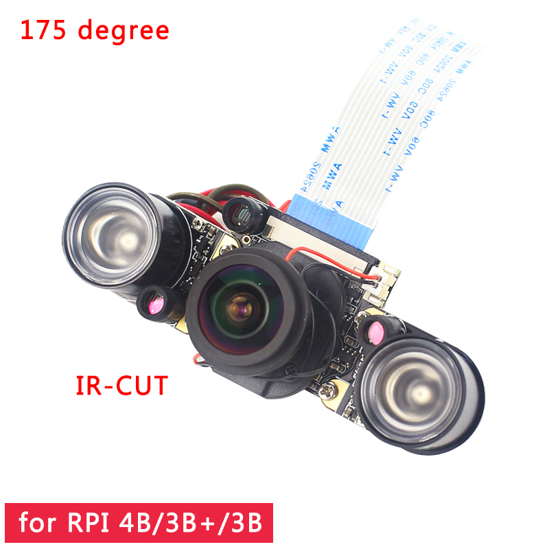 Raspberry Pi 4 IR-CUT Camera Night Vision Focal Adjustable 5MP Fish Eye Auto Switch Day-Night For Raspberry Pi 3 Mode B+/4B