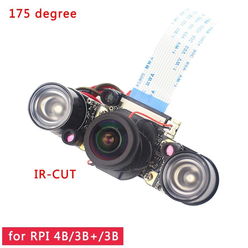 Raspberry Pi 4 IR-CUT Camera Night Vision Focal Adjustable 5MP Fish Eye Auto Switch Day-Night For Raspberry Pi 3 Mode B+/4B