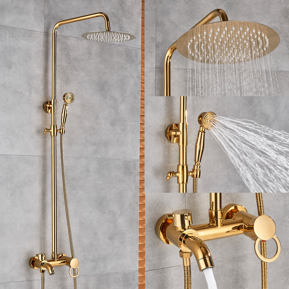 "H162f4c87884047619c014aca7727a8ebR Gold Polish Bathroom Rain Shower Faucet Bath Shower Mixer Tap 8"" Rainfall Head Shower Set System Bathtub Faucet Wall Mounted"