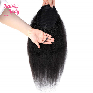 Halo Lady Drawstring Ponytail Afro Kinky Straight Human Hair Non-Remy Indian Yaki Hair Extensions Pony Tail For African American(China)