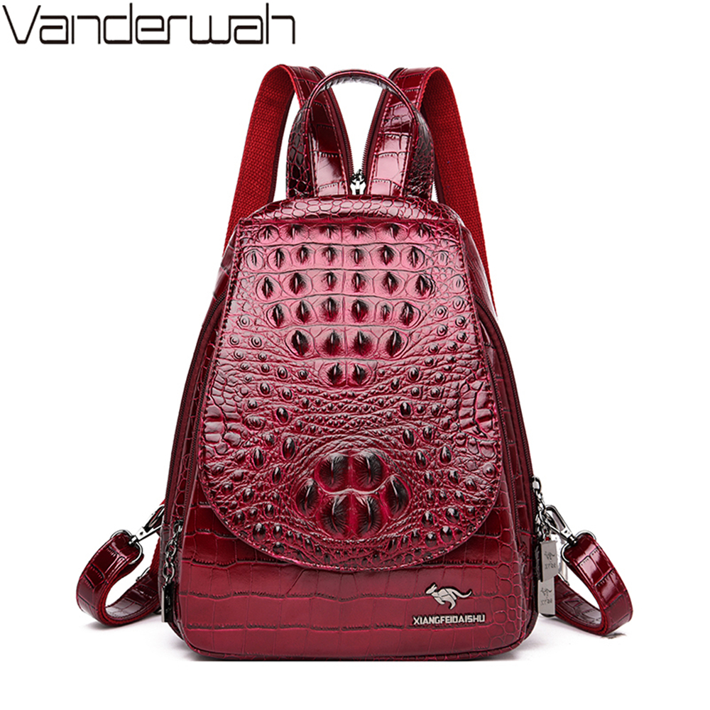 2019 Winter Style 3 In 1 Alligator Backpack Anti-theft Women Bag High Quality Leather Luxury Travel Back Pack Chest Bag Mochilas