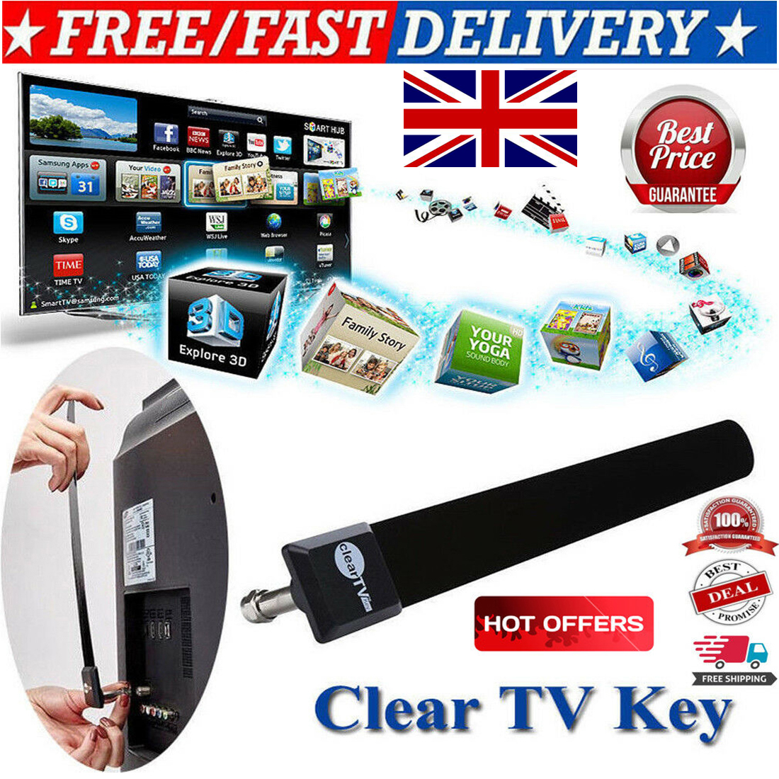 UK Clear TV Key HDTV FREE TV Digital Indoor Antenna Ditch Cable