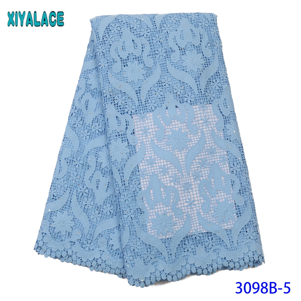 High Quality African Mesh Guipure Cord Lace Fabric Latest Nigerian French Network Cord Lace Fabric With Stones For Women KS3098B