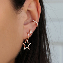Miss JQ Punk Star Earrings For Women Geometric Gold Color Rhinestone Set Fashion Jewelry boucle doreille femme 2019