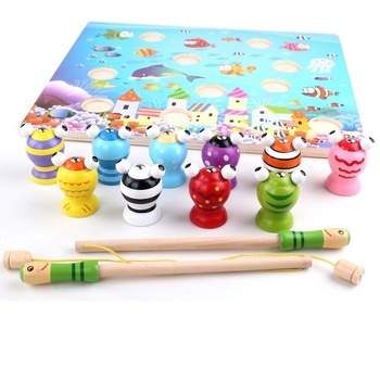 Baby puzzle magnetic fishing early education wooden toys 0-3 years old intelligence development parent-child interaction