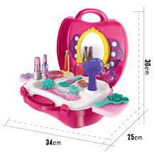 Children Play House Suitcase Model Dresser Jewelry Box Makeup Storage Box GIRL'S Hand Toy Gift(China)