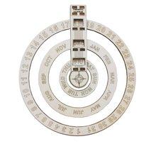 Crafts-Decor Calendar Table Perpetual Wooden Circular