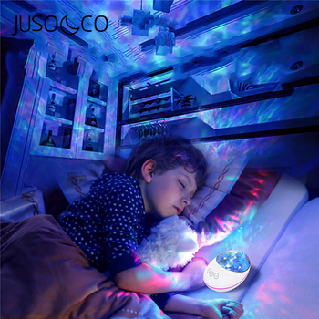 JUSOCCO Bluetooth Ocean Wave Projector LED Night Light With USB Remote Control Music Player Speaker TF Card Aurora Projection аудио колонка bluetooth sruppor tf bluetooth speaker