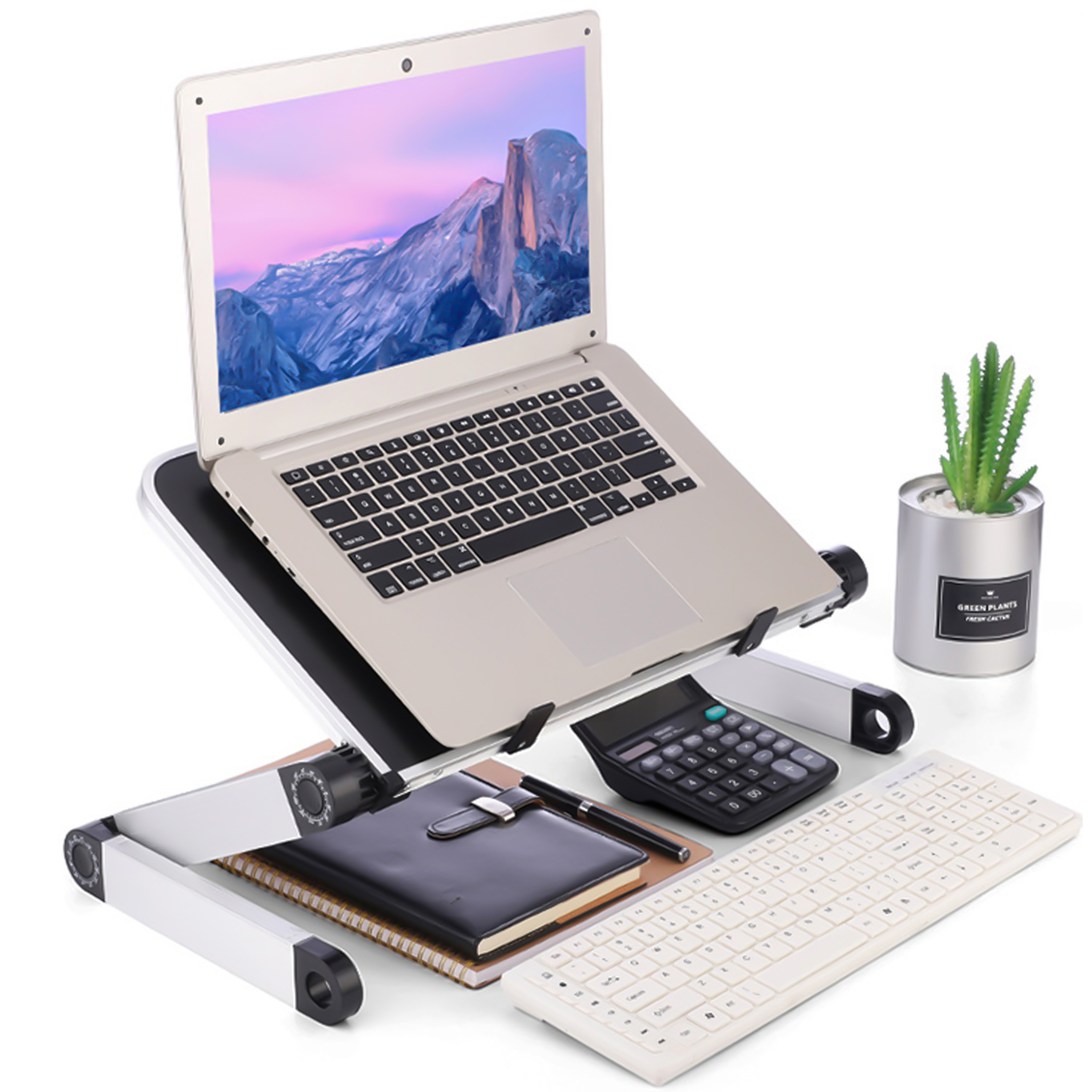 360 Degree Adjustable Foldable Laptop Support Desk Stand Holder Riser for Home Office School Indoor Outdoor Use Black