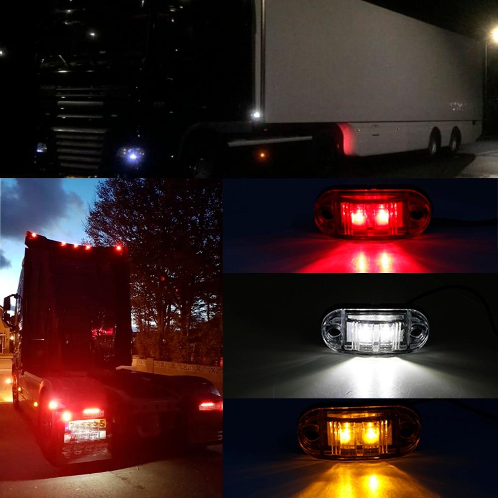2 pcs 12VOLT LED MARKER LIGHTS TRAILER FRONT HGV WHITE TRIKE TRUCK MOTORHOME VAN