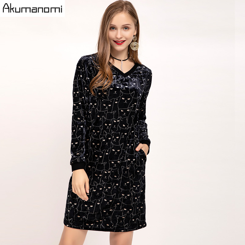 Autumn Velvet Velour Dress V neck Full Sleeve Women's Clothes Spring Cat Print Party Dress Plus Size 5XL Robe Femme Jurken Jurk