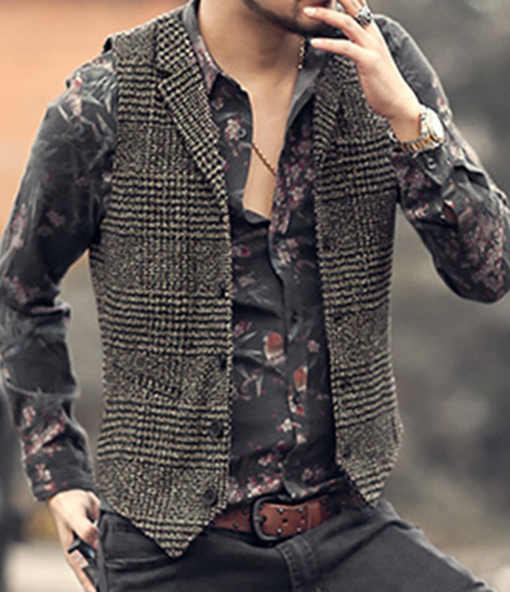 Mens Vest Casual Sleeveless Casual Herringbone Fabric Elegant V Neck Tweed Vest For Wedding Groomsmen Mens Waistcoat Vest