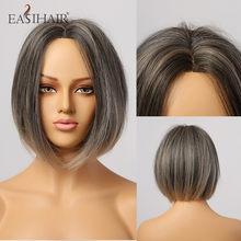 EASIHAIR-Peluca de BOB corto para mujer, pelo sintético, línea de cabello, malla con división, resistente al calor, Ombre Natural