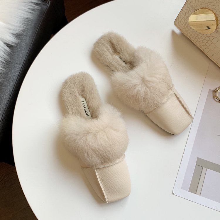 square close toe fur mules shoes flats casual rabbit hair slingback lazy slippers handmade sewing pleated leather slides female 57