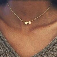 SMJEL mode petit coeur collier Initial personnalisé lettre nom collier ras du cou pour les femmes pendentif bijoux accessoires cadeau