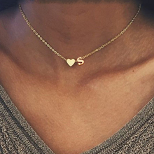 SMJEL Fashion Tiny Heart Initial Necklace Personalized Letter Name Choker Necklace For Women Pendant Jewelry Accessories Gift