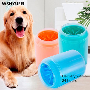 Dog Paw Cleaner Cup Soft Silicone Combs Portable Outdoor Pet towel Foot Washer Paw Clean Brush Quickly Wash Foot Cleaning Bucket(China)