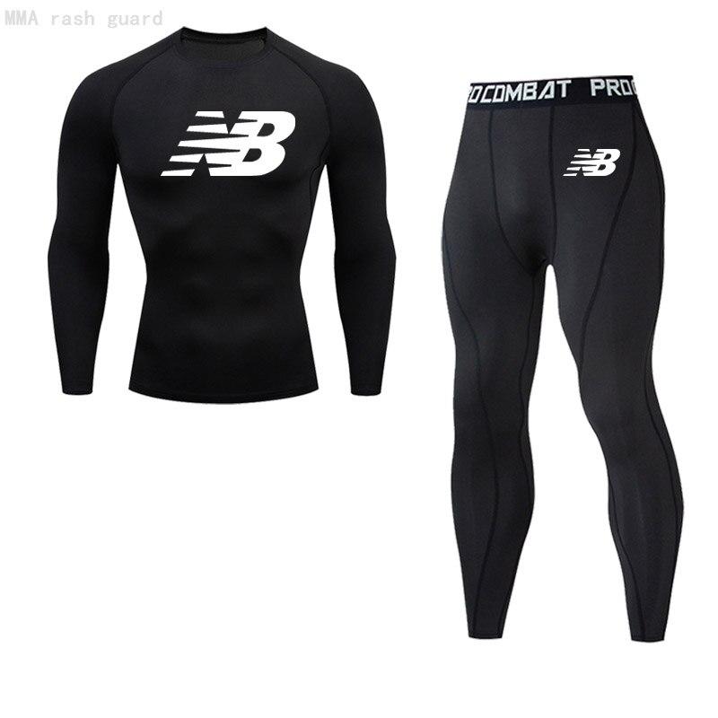 Брендовая мужская одежда, зимнее термобелье, кальсоны, компрессионная спортивная одежда, футболка для фитнеса, леггинсы, костюм для бега 4XL