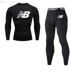 Brand Men's Clothing Winter Thermal Underwear Long Johns Compression sportswear Sweat fitness T-shirt leggings jogging suit 4XL