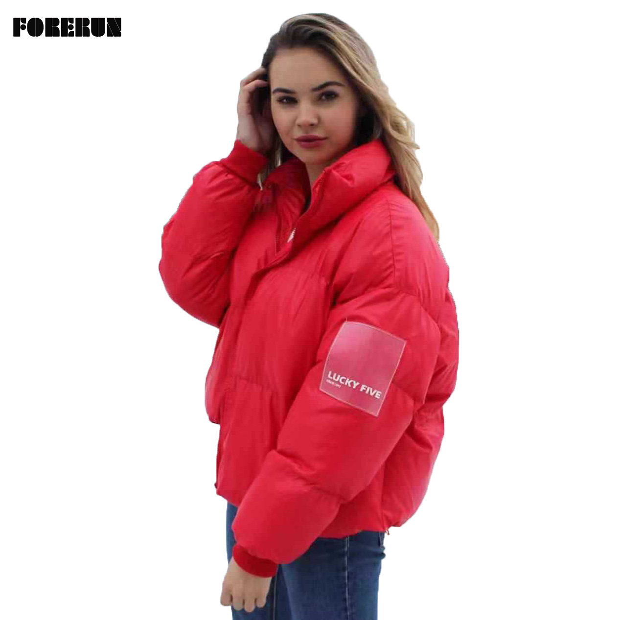 FORERUN Oversized Jacket Women Winter Warm Solid Puffer Jacket LUCKY FIVE Lable Standard Collar Bubble Coat   Parkas   Mujer 2019