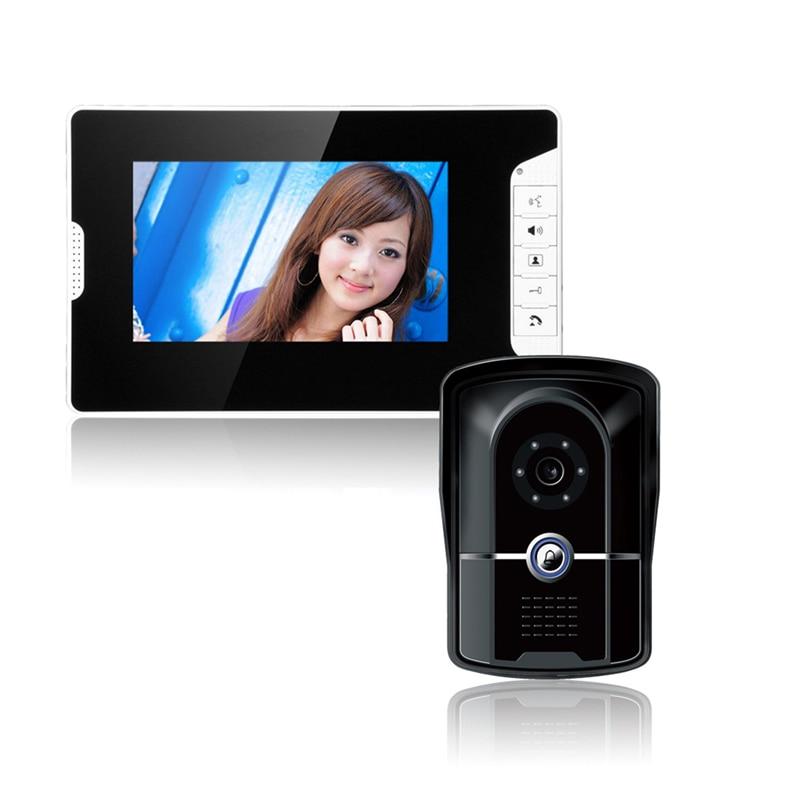 "FREE SHIPPING 7"" Video Intercom Door Phone System Electric Lock-Control Video Doorbell Monitor Intercom 700TVL Outdoor Camera"