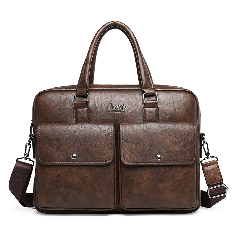 Retro Style PU Leather Men's Briefcase Business Handbag High Quality Male Laptop Bag Purse Stylish Men's Briefcase Shoulder Bag