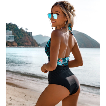 2020 Sexy One Piece Swimsuit Women Swimwear Push Up Monokini Ruffle Bathing Suit Floral Bodysuit Beach Wear Female Swimsuit XL 2